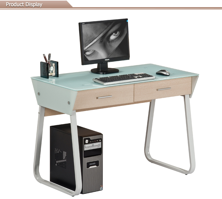 Stainless Steel Floor Sitting Glass fice puter Desk