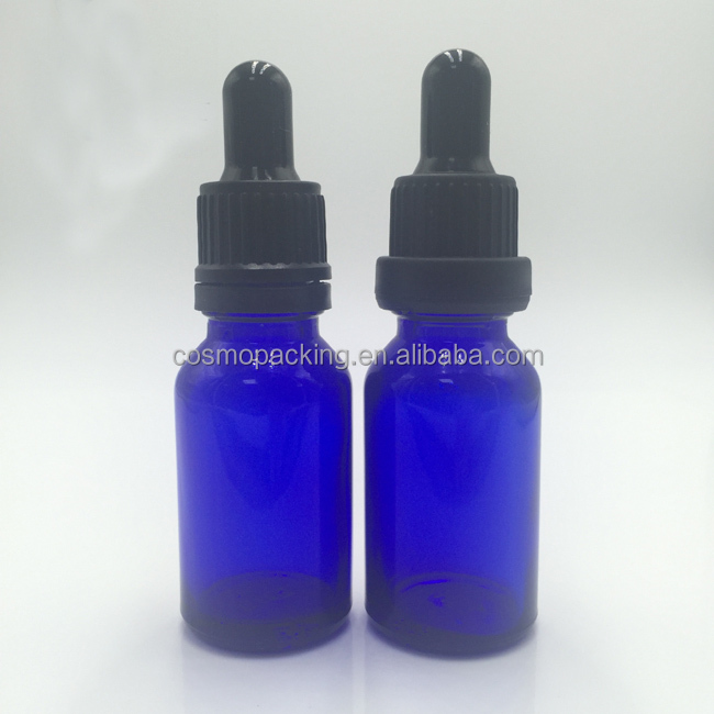 Wholesales essential oil glass pipette bottle 20ml blue glass dropper bottle for e liquid with screen printing