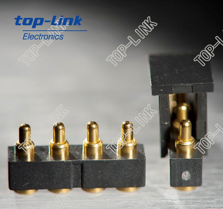 spring loaded pogo pin connector for wearable devices