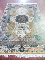 Hand knotted white and gold hot for USA silk carpet persian home decor