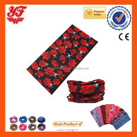 2015 Multifunctional comfortable printed red rose and skull 100%polyester seamless polyester tube bandanas for sales