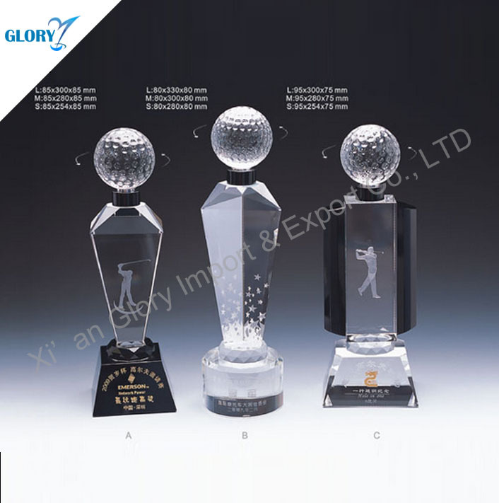 Elegant Crystal Desktop Golf Sports Related Gifts For Men