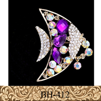 Fancylove Jewelry crystal lovely fish design purple jewelry brooch high quality corsage scarf buckle