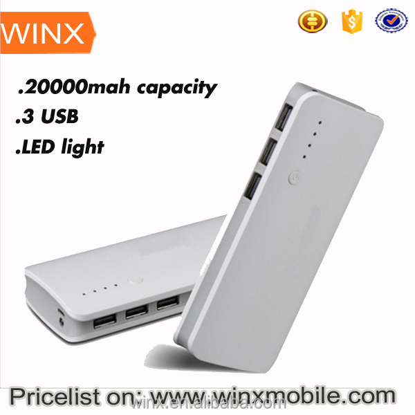 Orginal 3 USB multi-function mobile powerbank with LED light large capacity 20000 mA charge powerbank on WINX