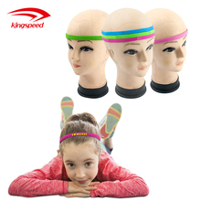 Anti-slip polyester elastic sports hairband with printed logo and silicon rubber