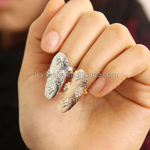 High quality ladies finger jewelry gold and silver nail ring SP6215