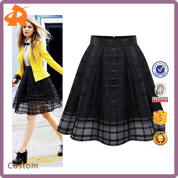 2017 Factory Supply Chiffon High Waist Mini Skirt with See Through Lace Mesh Plaids