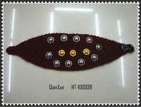 hot selling Rivet Crochet Headband Headwrap with button closure