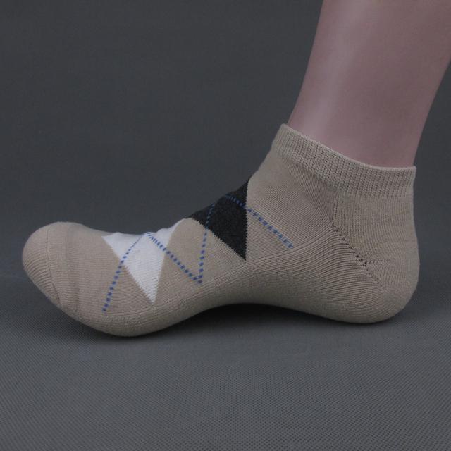 Men's argyle design terry sole no show boat socks