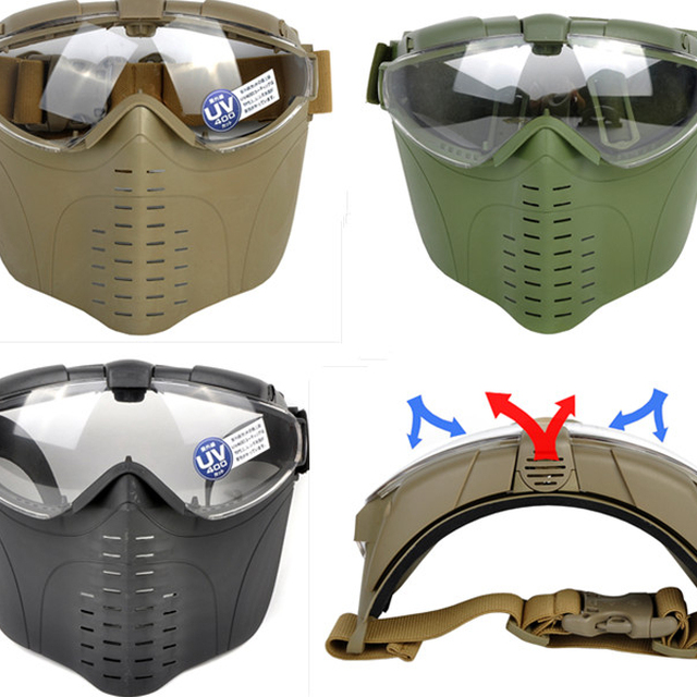 GZ9-0008 tactical full face airsoft mask with goggles
