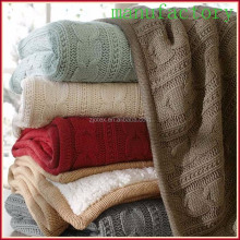 100% polyester super soft high quality large knit throw blanket wholesale