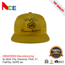 top quality customized snapback 5 panel unconstructed yellow baseball cap hat yellow color