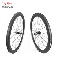 FSC50TM-25 Far Sports carbon bicycle wheels 50mm tubular with EDCO Straight pull hub and Sapim cx-ray super light 20H/24H