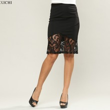 Pencil Skirt with Lace Panel women skirt