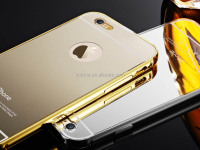 Aluminum Back Mirror Glass Case / Moving Glitter Case For iphone 5 5s