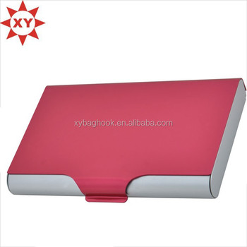Popular in USA aluminum oxidize red sliding card holder