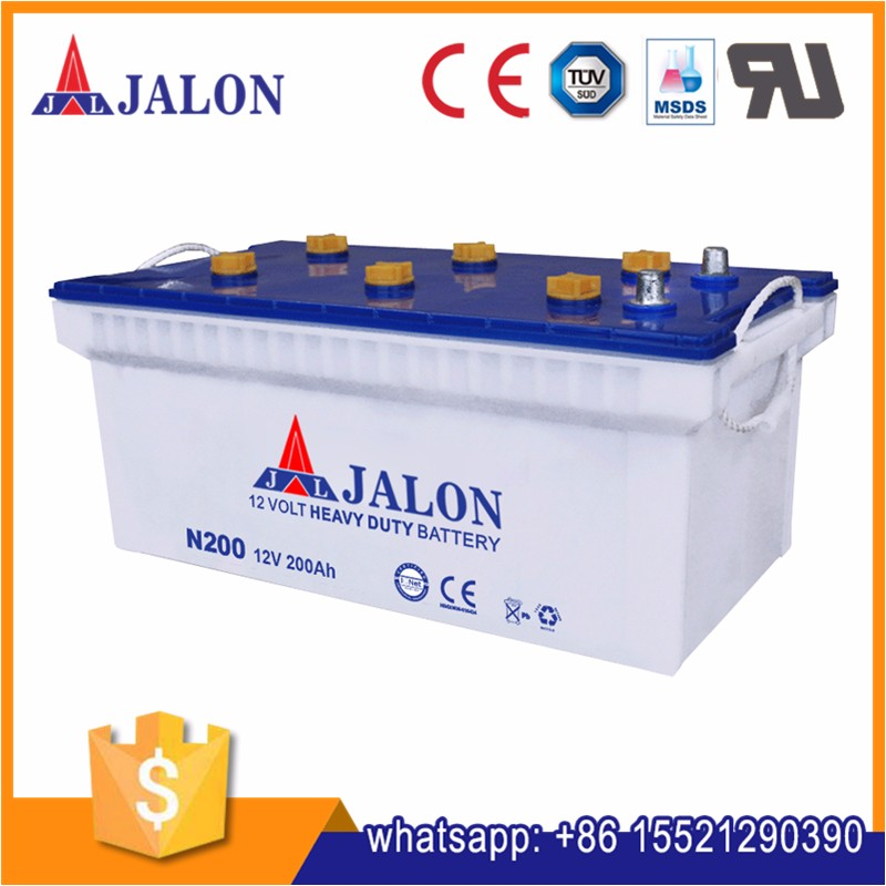dry charged 12v 200ah N200 quick start car battery