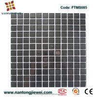 FTMS085 black 12x12 glass floor tile