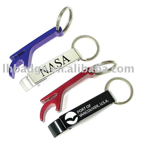 Plain oxidized aluminum can and bottle opener with split key ring