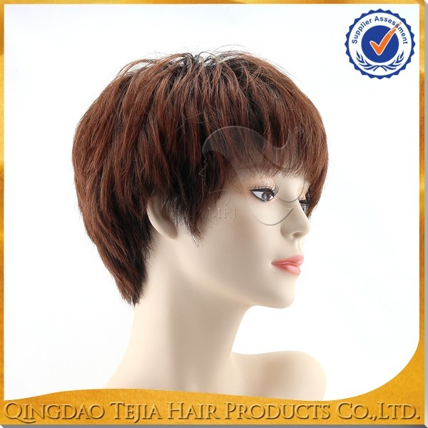 2016 new trendy style virgin brazilian hair short full lace wigs for black women