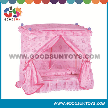 Lovely Pink Plastic Pretend Princess Doll Sleeping Bed Play Sets For Kids