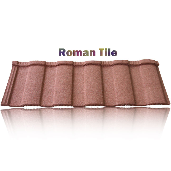 Africa colorful asphalt shingle stone coated metal roof tile, double bent roof tiles