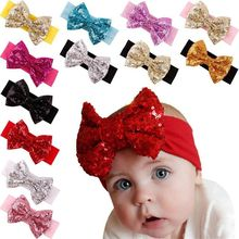 New Arrival Elastic Kids Hairband Cotton Knotted Infant Toddlers Baby Sequin Bow Headband