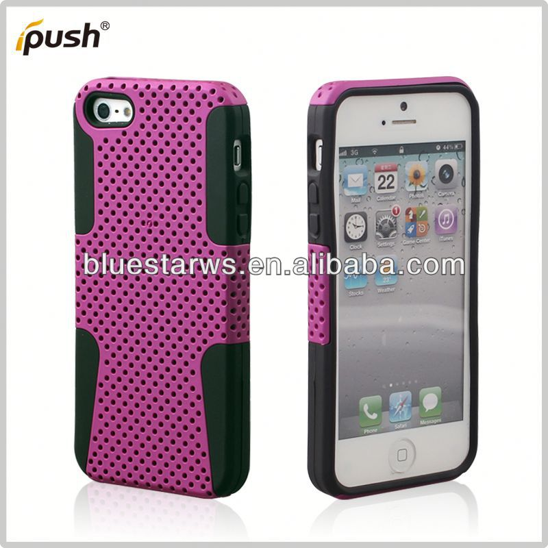 hybrid case and silicon Factory Wholesale Hybrid PC Silicone Back Cover For Iphone5