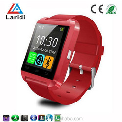 2015 hot selling CE rohs silicone smart watch U8 wristwatch cheap support bluetooth speaker android mobile phone