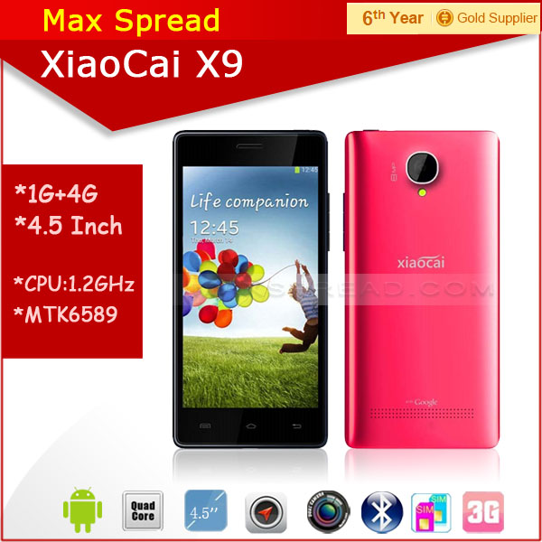 Hot sales!! 5.0 inch QHD dual sim dual camear 8MP mtk6582 quad core android xiaocai x9 women smartphon