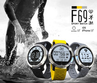 professional swimming wristwatch waterproof IP68 bluetooth android mobile watch phone F69 smart watch with 2 bands