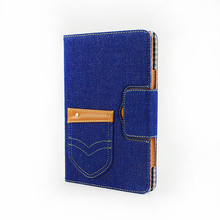 Guangzhou Mobile Phone Accessories Flip Denim Leather Protective Case For iPad case