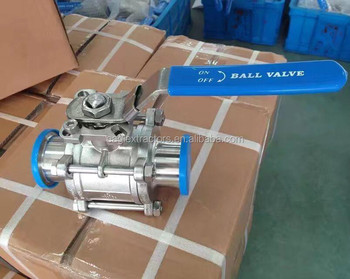 1000 WOG Psi Sanitary 3 Piece Clamped Ball Valve With Locking Device