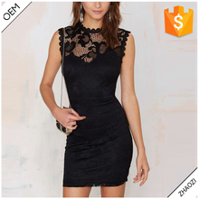 2016 new fashion short sleeves black lace sexy short prom dresses for women