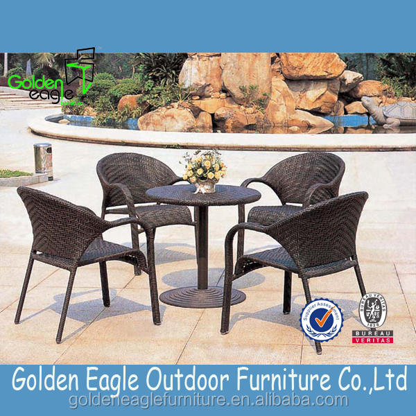 Leisure garden rattan dining set with uv-resistant good rattan and modern design