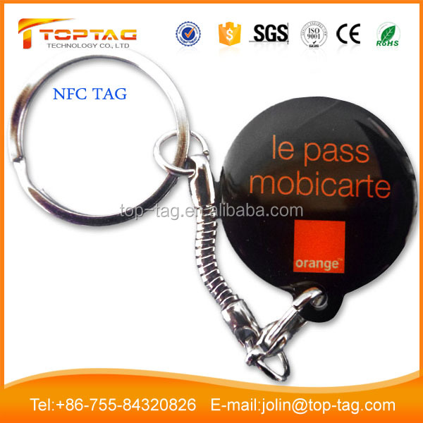 PVC RFID NFC Epoxy Tag with Ntag215 chip afflixed to Key Ring