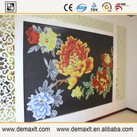 china national flower mural demax build glass mosaic tile