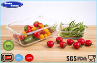 High Borosilicate Glass Rectangular Fashion Food Container With Plastic Lid Air-tight Oven Use