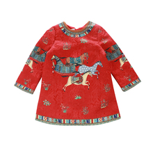New fashion girls frock designs picture jacquard long sleeve red princess dress