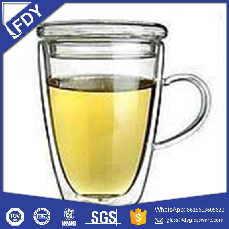 clear double wall insulated tempered glass coffee cups with stand