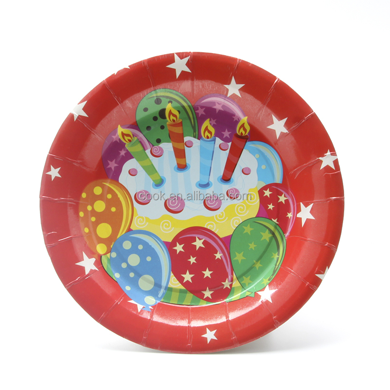 2017 hot selling birthday theme paper <strong>plate</strong> 7""