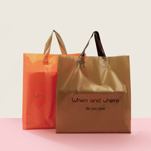 Soft loop type plastic handle bag custom rope handle tote bag shopping bag with handle