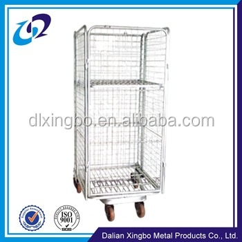 Collapsible supermarket transport roll cage with wheels