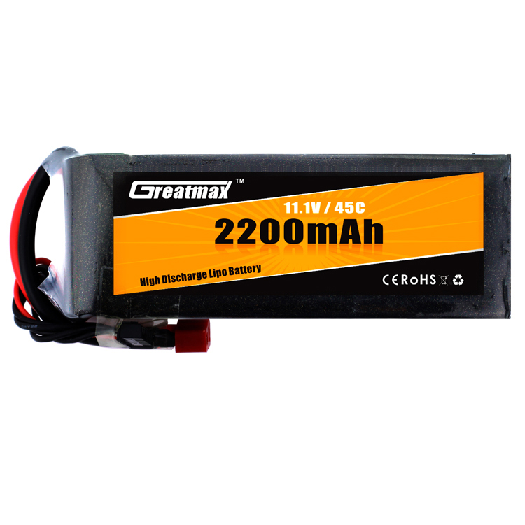 GreatMax rechargeable lithium ion 3S 45C 11.1V 2200mAh lipo battery with long cycle life for rc drone