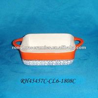 Huaide RH45457C-CL6 Orange Rectangle Fine Ceramics Cocotte