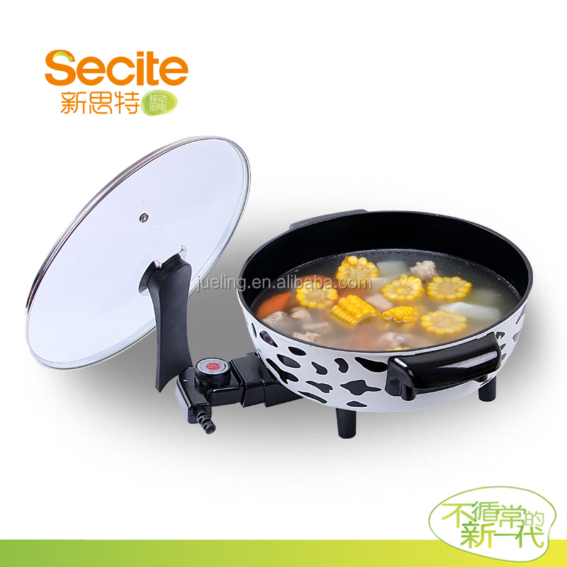 Small Round Multi Cooker with Glass Lid electric frying pan