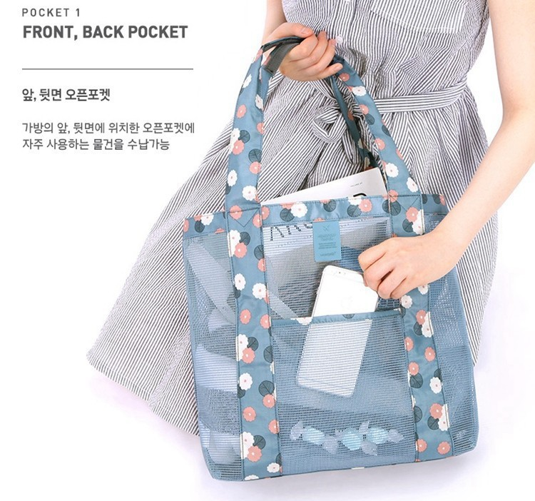 Outdoor travel receive bag portable shopping one shoulder large beach bag multi-function clothes cosmetics receive bag