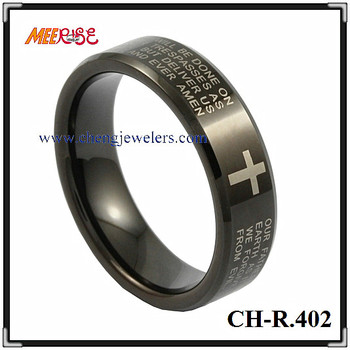 Plain black laser photo engraving jewelry custom engraved ring