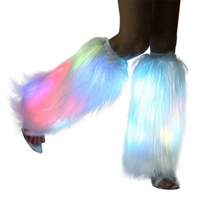 Stylish multicolor rainbow dance hosiery glow rave fluffies flashing light up faux fur led leg warmer