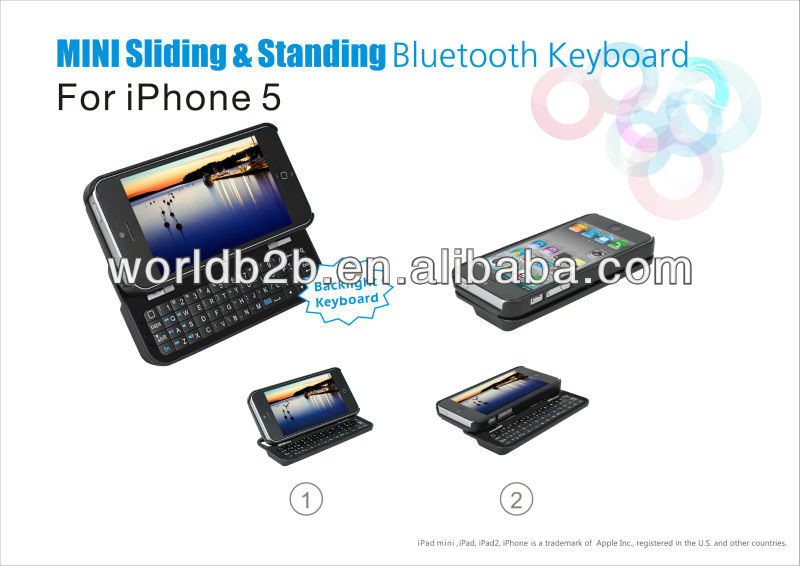 Wireless bluetooth slide full qwerty keyboard case for iphone 5/5s/5c with stand